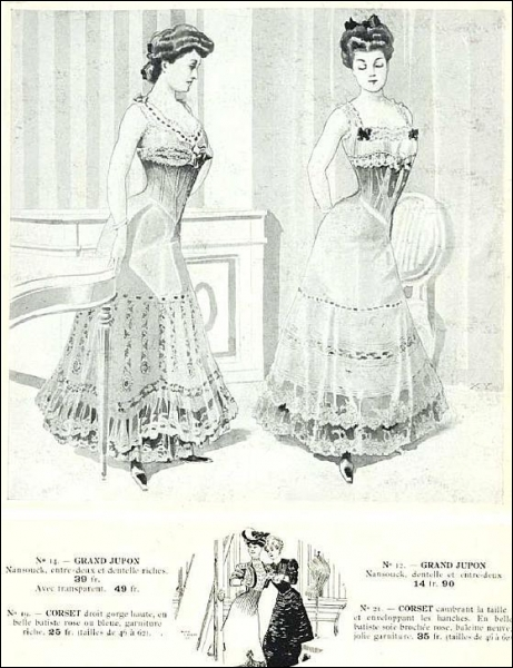 Pour commencer de façon guillerette. En projetant très en avant la poitrine et en arrière le fessier, les femmes prenaient une allure de poule. Quel artifice les contraint ainsi ?