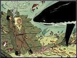 Dans quel album Tintin a-t-il la surprise de se retrouver nez à nez avec un requin au cours d'une plongée en scaphandre ?