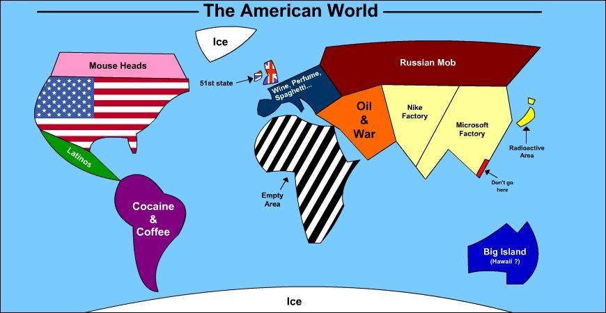 Dans la carte du  monde américain , trouvez le nom du pays représenté par le petit rectangle rouge (à droite de l'image) dont la légende est  Don't go here .