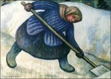Qui a peint Femme pellant la neige ?