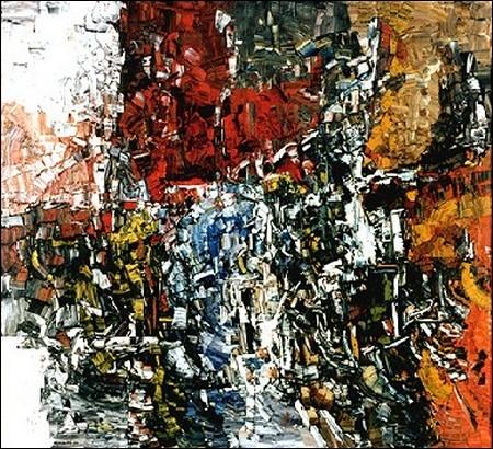 Abstraction, 1956, par un peintre, graveur et sculpteur québécois (1923-2002).