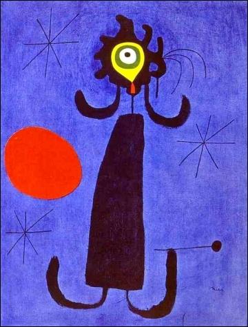 Femme devant le Soleil, 1950 par un peintre et sculpteur  catalan international  (1893-1983) qui particpa au mouvement surréaliste et dada.