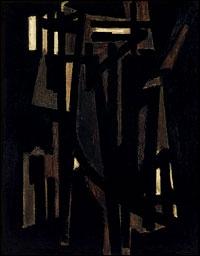 Peinture, 1950 par un un peintre et graveur abstrait français, maître de l'Outrenoir, et l'un des principaux représentants de la peinture informelle.