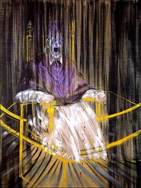 Etude d'après le Portrait du Pape Innocent X de Velasquez par un peintre britannique (1909-1992) homonyme d'unhomme d'État et philosophe pionnier de la pensée scientifique moderne.