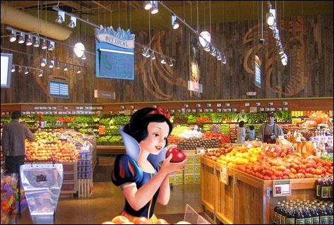 Dans ce magasin, pas de pommes empoisonnées, juste des fruits issus d'OGM. Qui est cette cliente ?