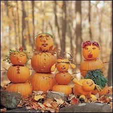 A faire avec les enfants, à partir d'un petit chargement de potirons, des bonshommes d'Halloween, à la manière dont on fait aussi... ?