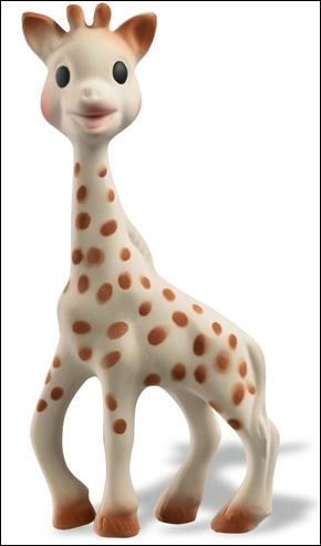 Comment s'appelle la girafe en caoutchouc, créée en 1961 et destinée aux nourrissons ?