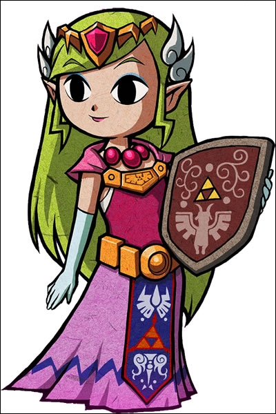 Dans quel jeu  Zelda , Zelda offre-t-elle un bouclier qu'elle a gagné à un jeu, à Link ?