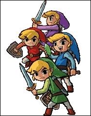 Le jeu Zelda  Four Swords Adventures  (seul connu à pouvoir se jouer à 4) montre Link se divisant en 4, après avoir pris l'épée de 4. Quelles couleurs montrent quelles facettes de Link ?