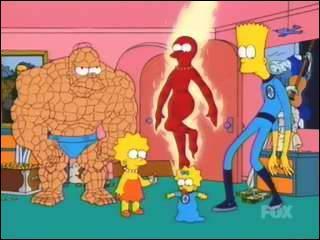 Quel est le vrai nom du super-héros parodié par Bart dans cette image ?