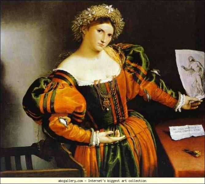Dame avec un dessin de la mort de Lucrèce - 1533