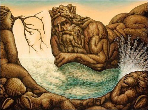Voici une belle oeuvre en trompe-l'oeil, présentant une sirène faite d'eau et le Dieu Neptune. Cette composition est issue de l'imagination de... ?