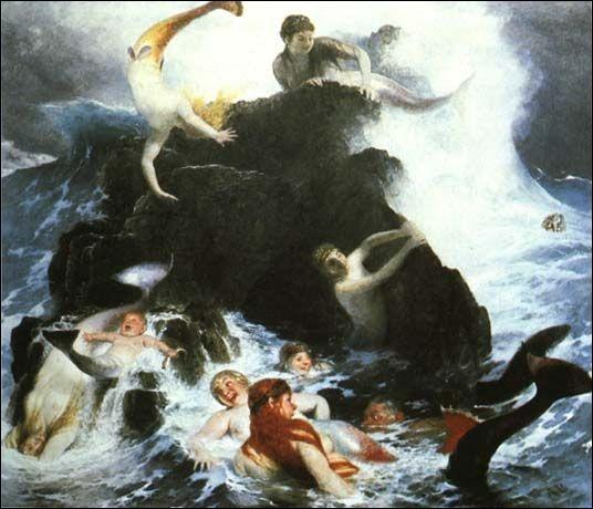 Ce tableau s'intitule fort à propos Sirène aux jeux, on peut même y voir un bébé sirène... Il s'agit d'une oeuvre de... ?