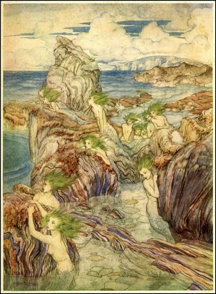 Les cheveux verts de la mer  est un belle illustration de sirènes du célèbre illustrateur de contes et livres qu'est... ?
