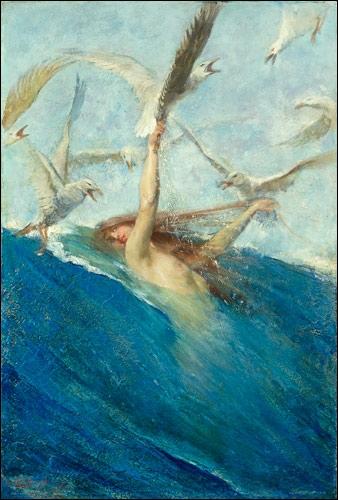 Une oeuvre toute en écume et en mouvement que cette très belle   sirène et les mouettes , de l'artiste... ?