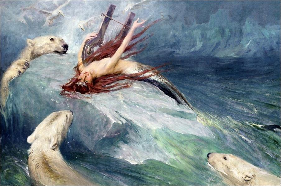 Les sirènes attirent les marins par leurs chants et leur musique. Alanguie sur la glace, accompagnée des ours polaires, voici la belle sirène de... ?