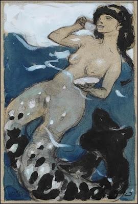 Voici un autre exemple de sirène, à queue double, une oeuvre datant de 1900, de Leo Putz, qui est un peintre... ?