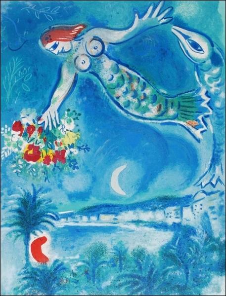Cette très jolie sirène, rousse elle aussi, dans le bleu très bleu des mers (mais n'est-ce pas plutôt le ciel ? ) est signée de... ?