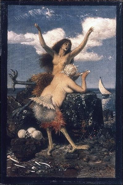 Le peintre de ces étranges créatures est Arnold Böcklin. Mais sont-ce bien des sirènes dont il s'agit ici ?