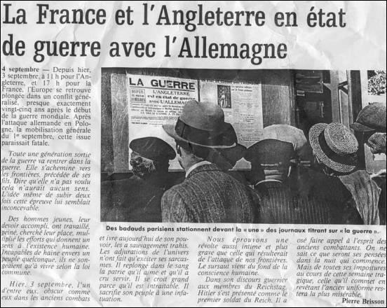À quelle date la France et l'Angleterre déclarent-elles la guerre à l'Allemagne ?