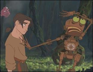 Dans La planète au trésor, qu'est-ce que Ben, l'ami robot de Jim, a perdu ?