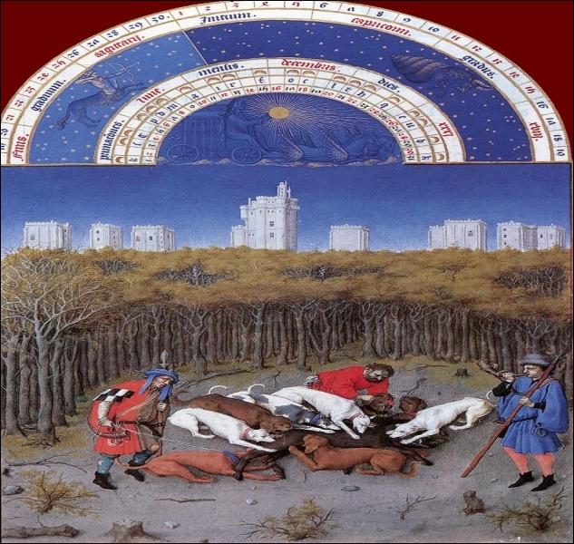 La splendeur des châteaux se manifeste à travers les peintures du temps. Vincennes figure comme toile de fond à une scène de chasse. Où verrez-vous cette merveille d'enluminure ?