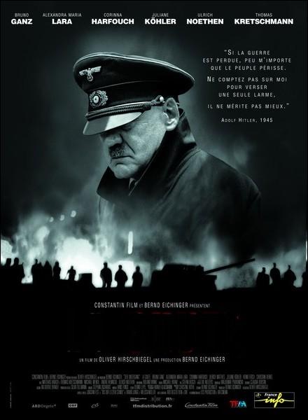Film allemand réalisé par Oliver Hirschbiegel en 2004 consacré aux événements et circonstances liés à la mort d'Adolf Hitler, avec Bruno Ganz, Alexandra Maria Lara ... .