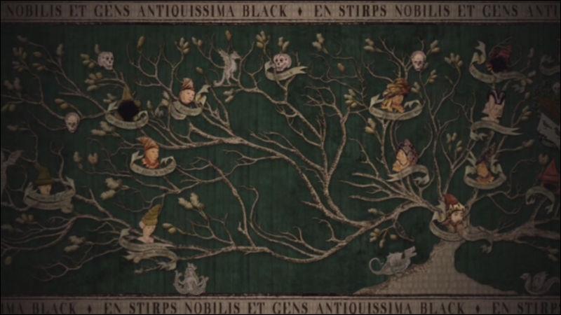 Qu'est-il écrit sur la tapisserie généalogique des Black en dessous du titre  La noble et très ancienne maison des Black  ? (dans les livres)