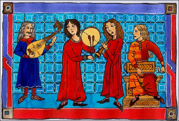 Sorte de guitare en usage au XIVe siècle. Interjection dans le refrain de quelques vieilles chansons :