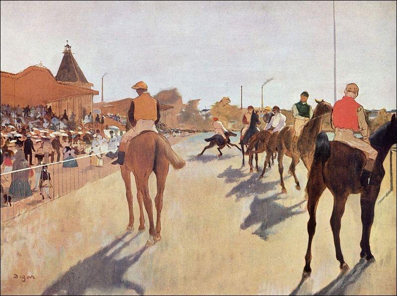 Qui a peint Jockeys devant la tribune ?