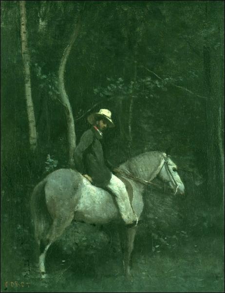 Qui a peint Monsieur Pivot à cheval dans les bois de la Ville d'Avray ?