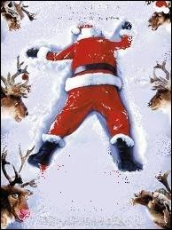 Un accident est si vite arrivé ... Si le père Noël portait un gilet jaune fluo, il risquerait moins de se faire écraser par un rouleau compresseur :
