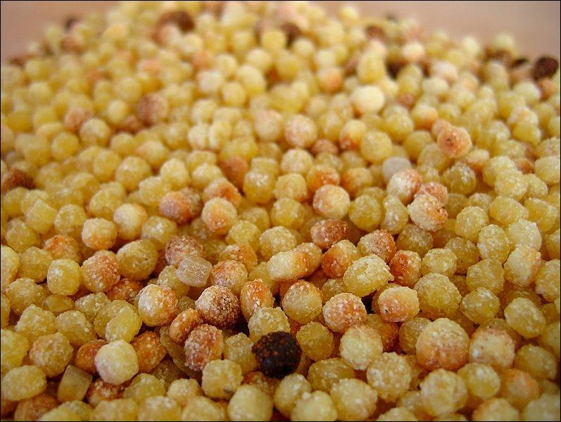 La pâte des  fregula  est façonnée par roulage. À la fin du séchage, elle est rôtie au four. À quelle catégorie appartiennent ces petits grains ?