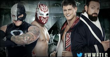 Rey Mysterio & Sin Cara vs Team Rhodes Scholars : qui sont les vainqueurs ? (Tables Match)