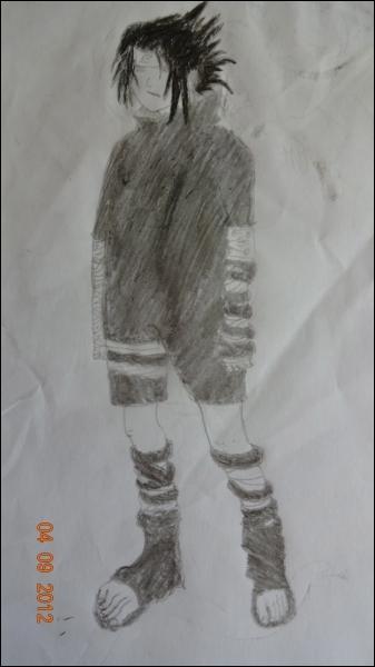 Mon tout premier dessin de cette longue série qui débute. C'est un des personnages principaux de Naruto. Le reconnaissez-vous ?