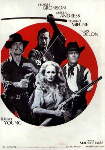 Western original et divertissant de Terence Young (1971) avec Charles Bronson, Alain Delon, Toshiro Mifune, Ursula Andress ... .