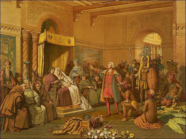 Au nom de qui Colomb entreprend-il son voyage et fait la conquête de terres nouvelles ?