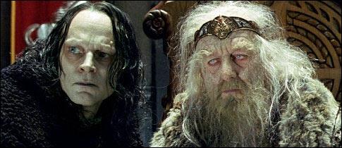Qui sauve le roi Théoden du maléfice de Grìma langue de serpent ?
