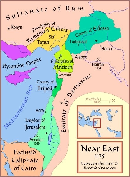 A part le royaume de Jérusalem, quels sont les 3 autres Etats créés par les croisés en Syrie-Palestine ?