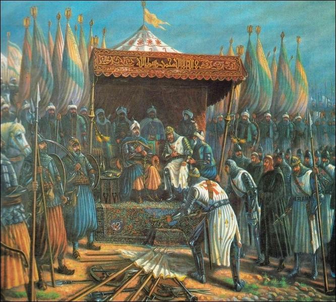 Dix ans plus tard, Saladin reprend Jérusalem aux chrétiens et capture Guy de Lusignan, le roi de Jérusalem. C'est ce qui déclenche ... ?