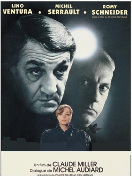 Film policier réalisé par Claude Miller en 1981 aux cadrages précis et dialogues perlés, avec Lino Ventura, Michel Serrault, Romy Schneider, Guy Marchand ... .