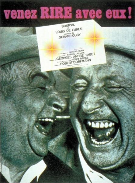 Irrésistible tandem Bourvil-de Funès dans un film de Gérard Oury (1964) où l'on rit toujours des mimiques de ces deux comédiens ... .