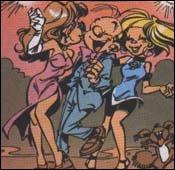 Quels sont les noms des deux premières filles travaillant pour la fille de Vito Cortizone pour séduire Fantasio et Spirou ?