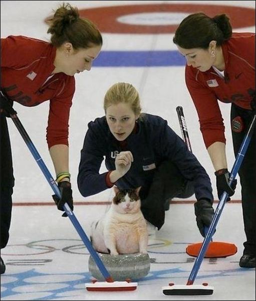 Comment s'appelle l'engin que tiennent les deux joueuses de curling en t-shirt rouge ?
