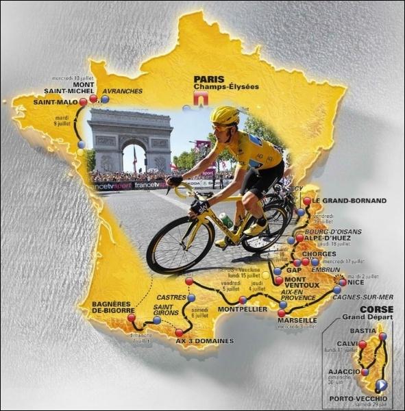 Cette année également ce sera la 100e édition du Tour de France, avec un départ pour la 1ère fois en Corse. Depuis quand la Grande Boucle se termine-t-elle sur les Champs-Elysées ?