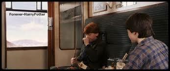 Où s'assied Ron après avoir dit à Harry :  Je peux m'asseoir, il n'y a plus de place nulle part ?   ?