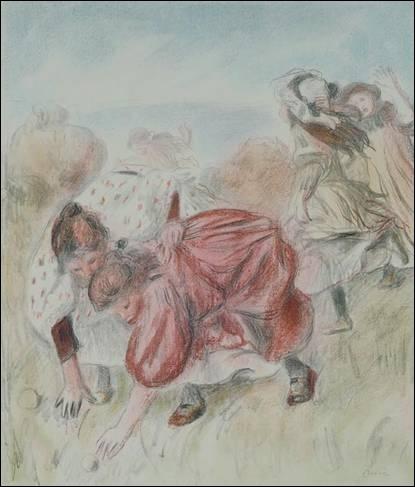 De qui est la lithographie  Enfants jouant à la balle  vers 1900 ?