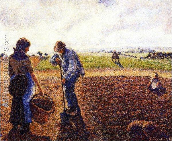 Qui a peint Paysans dans un champ à Eragny ?