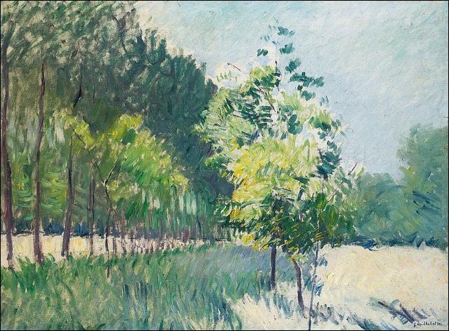 Qui a peint Allée bordée d'arbres en 1890 ?