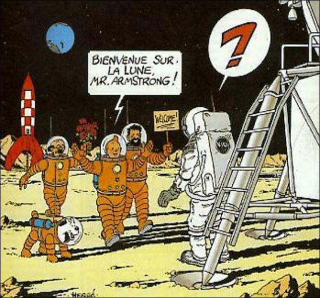 Neil Armstrong fit un bond de géant pour l'humanité en marchant sur la lune le 21 juillet 1969, mais de combien d'années s'était-il fait précéder par Tintin et Haddock (année parution Objectif Lune) ?